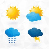 Icons for weather with sun and cloud motif Royalty Free Stock Photography