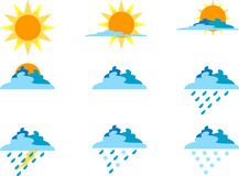 Icons for Weather Symbols Royalty Free Stock Photography