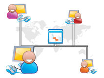 Icons web. Icon web network people sharing files Stock Photography