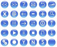 Icons For Web Actions Set Blue. Icons for web actions in a shiny fun way. Inspired by web 2.0 buttons vector illustration