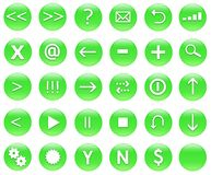 Icons For Web Actions Set Green. Icons for web actions in a shiny fun way. Inspired by web 2.0 buttons royalty free illustration