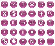 Icons For Web Actions Set Purple. Icons for web actions in a shiny fun way. Inspired by web 2.0 buttons vector illustration