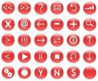 Icons For Web Actions Set Red. Icons for web actions in a shiny fun way. Inspired by web 2.0 buttons royalty free illustration