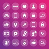 25 icons for web, apps development, websites. Round transparent icons set, vector illustration Royalty Free Stock Image