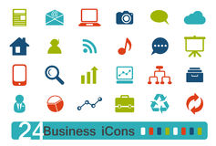 Icons. 24 web icons for business Stock Images