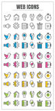 Icons web color blck blue pink Yellow green vector on white back Royalty Free Stock Photos