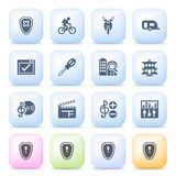 Icons for web on color buttons. Stock Photo