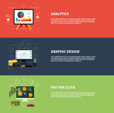 Icons for web design analytics graphic design and. Pay per click internet advertising in flat design. Raster version Royalty Free Stock Images