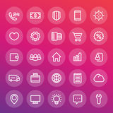 Icons for web design in line style. 25 vector pictograms set Stock Photography
