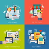Icons for web design, seo, social media and pay Stock Photos