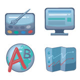 Icons web development and optimization. In dark colors with bright elements Stock Images