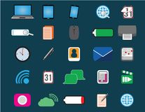 25 icons of web, devices and communication. Flat computer icons set. Office and technology collection Stock Photos