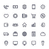 Icons for web in line style isolated on white. 25 vector pictograms set Royalty Free Stock Photos