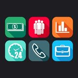 Icons for web and mobile applications with business signs Stock Image