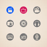 Icons for web and mobile applications with creative industry items. Flat icons for web and mobile applications with creative industry items Stock Photos