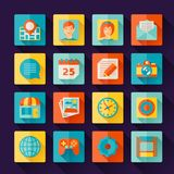 Icons web and mobile applications in flat design Stock Photography