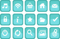 Icons for web in tranquile aqua theme Royalty Free Stock Photos