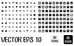 Icons for web white stickers and bw Royalty Free Stock Photo