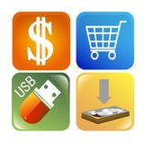 Icons for websites or mobile applications with the. Icons for design of mobile applications or web design stock illustration