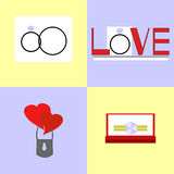 Icons wedding rings, wedding. Icons with wedding rings, hearts, the word Love Stock Photos