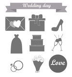 The icons on a wedding theme. The icon on a wedding theme in gray colors Stock Photography