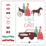 Icons weddings and bridal silhouette Stock Photos