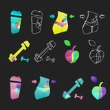 Icons for weight loss, healthy lifestyle. Water, body, weight, apple. 4 different icons for sport, healthy lifestyle and weight loss. Ideal for a logo, icons on Stock Images
