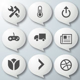 9 Icons White Royalty Free Stock Photos