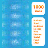 1000 icons white set Royalty Free Stock Photos