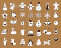 Icons with white stroke Christmas. Icons pictures with white stroke Christmas on a brown background Stock Images