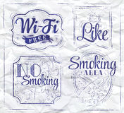 Icons wifi. Ink. Royalty Free Stock Photos