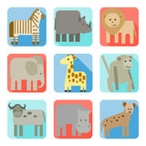 Icons, wild animals of africa Royalty Free Stock Photos