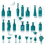 Icons of wine bottles, goblets and vine elements vector illustration