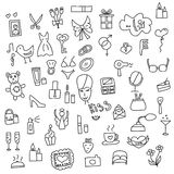 Icons of women hand drawn doodle in style. Vector illustration. Stock Image