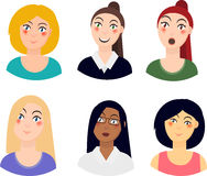 Icons of women portraits, different races, different emotions, set of avatars people. Stedenrt, scientist, buisness. Asian, indi vector illustration