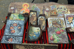 Icons on wood2. Icons made of wood painted royalty free stock image