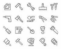 Icons, workers and construction tools, monochrome. Royalty Free Stock Photography