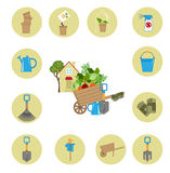Icons working in garden Stock Image