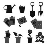 Icons working in the garden Stock Photography