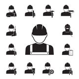 Icons of workmen coupled with different tools. Black silhouette vector icons of workmen coupled with different tools including  drill  spanner  paint brush Royalty Free Stock Images