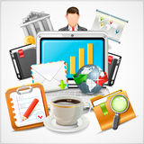 Icons Workplace, Items of Business Stock Photography