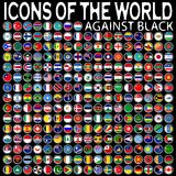 Icons of the world against black Stock Photo