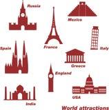 Icons of world sights royalty free illustration