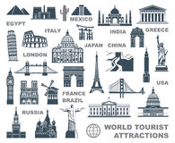 Icons world tourist attractions Stock Photos