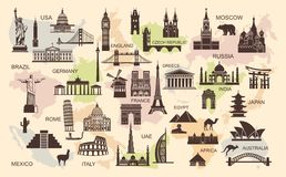 Icons world tourist attractions Royalty Free Stock Photo