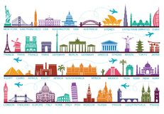 Icons world tourist attractions. The symbols travel around the world. Landmark and attractions. Icon architectural monuments and world tourist attractions Stock Photos