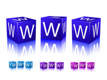 Icons of www letters on blue and violet blocks Stock Photos