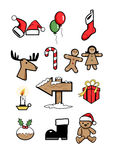 Icons xmas  holiday symbols winter 1 Stock Photography
