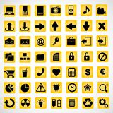 49 icons on a yellow background Royalty Free Stock Photo