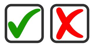 Icons yes and no, voting for and against, vector green tick and red cross in voting square Stock Photos